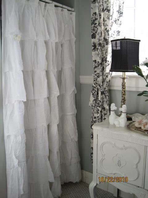 SHABBY COTTAGE BEACH FRENCH CHIC COUNTRY WHITE TIER RUFFLED SHOWER CURTAIN