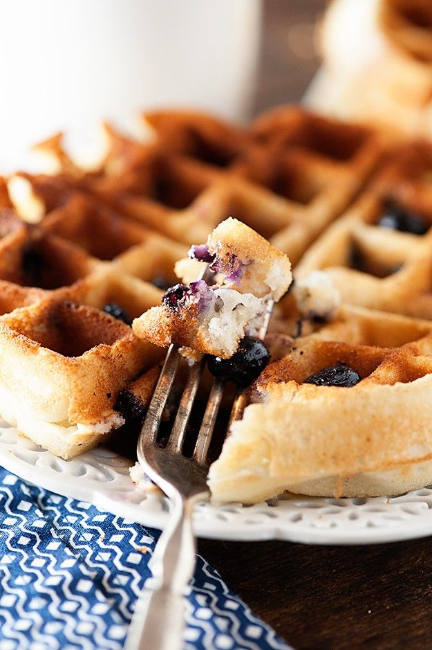*****make a crumb topping! Bake separately: flour sugar butter crumbles *****This blueberry waffle recipe combines the best of both worlds...muffins and waffles, all in one.
