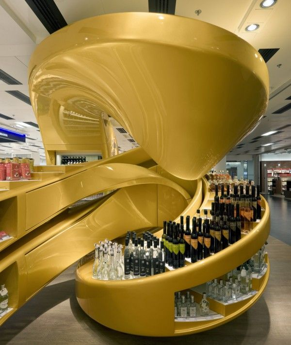 Retail Design | Wine Store | BWS | Liquor Store | Architizer Blog » New Duty Free Shop Pays Homage To Viennese Arts