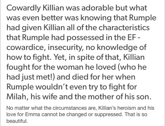 YESSSS. That's why I love Captain Swan so much. AU Killian gave his life for Emma and Henry, whom he had just met, so that they would be able to succeed, because he wanted to be able to be with her in the real world. THAT'S true love, right there.