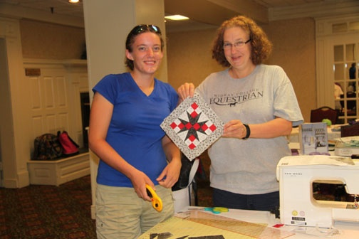 Two students display a completed block in class with Debbie Caffrey.: Completed Block, Quilting Tutorials, Students Display, Quilt Tutorials, Caffrey Quilts, Debbie Caffrey
