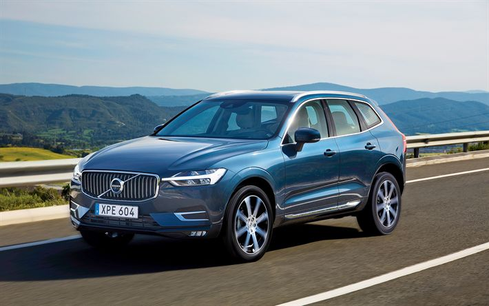 Download wallpapers Volvo XC60, 2017, new crossovers, blue XC60, Swedish cars, Volvo