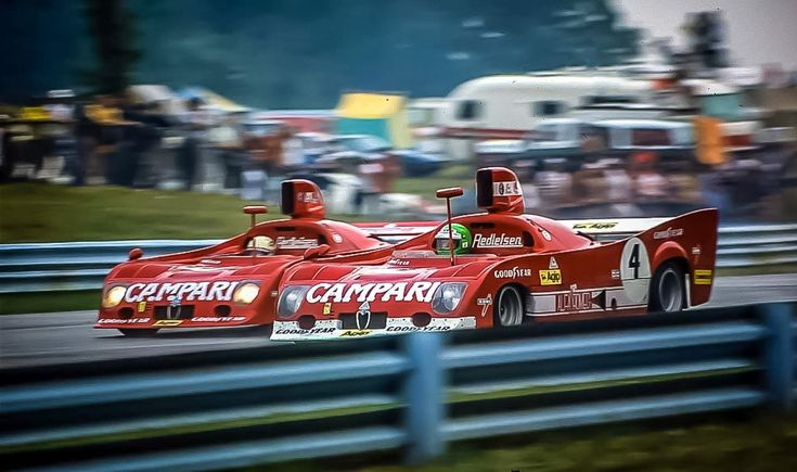 (4) Henri Pescarolo / Derek Bell - Alfa Romeo T33/TT/12 - Willi Kauhsen Racing Team - (3) Arturo Merzario / Mario Andretti - Alfa Romeo T33/TT/12 - Willi Kauhsen Racing Team - 6-Hours and the Formula 5000, The Glen - Watkins Glen 6 Hours - 1975 World Championship for Makes, round 9 - SCCA Trans-American Championship, round 5
