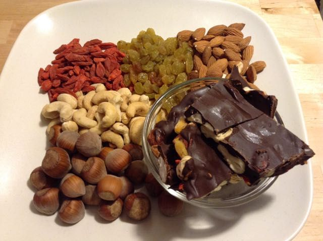 #Chocolate Fruit and Nut Bark. A healthy #Valentine's Day treat. Get the #recipe at: http://kristenyarker.com/blog/chocolate-fruit-and-nut-bark
