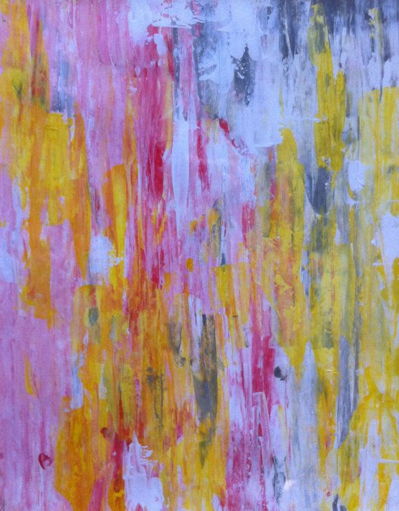 Abstract Art Painting Yellow White Pink Grey on Etsy: Watercolor Paintings, Aaaa Paintings, Abstract Art Paintings, Paintings Yellow