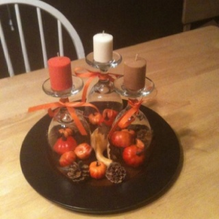 Fall centerpiece that i made out of upside down wine for Centerpieces made with wine glasses
