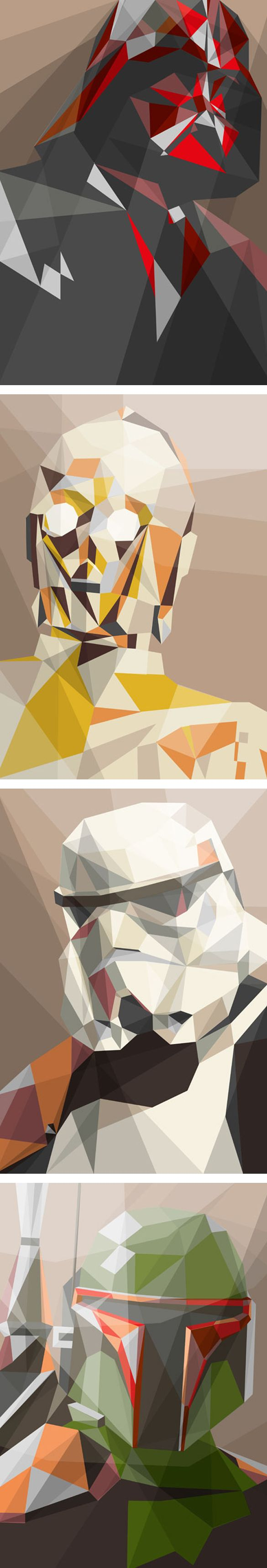 niceLiam Brazier, Star Wars Illustration Prints, Illustration Star Wars, Polygonal Art, Starwars Painting, Polygon Art, Illustration Geek, Starwars Artwork, Awesome Illustration