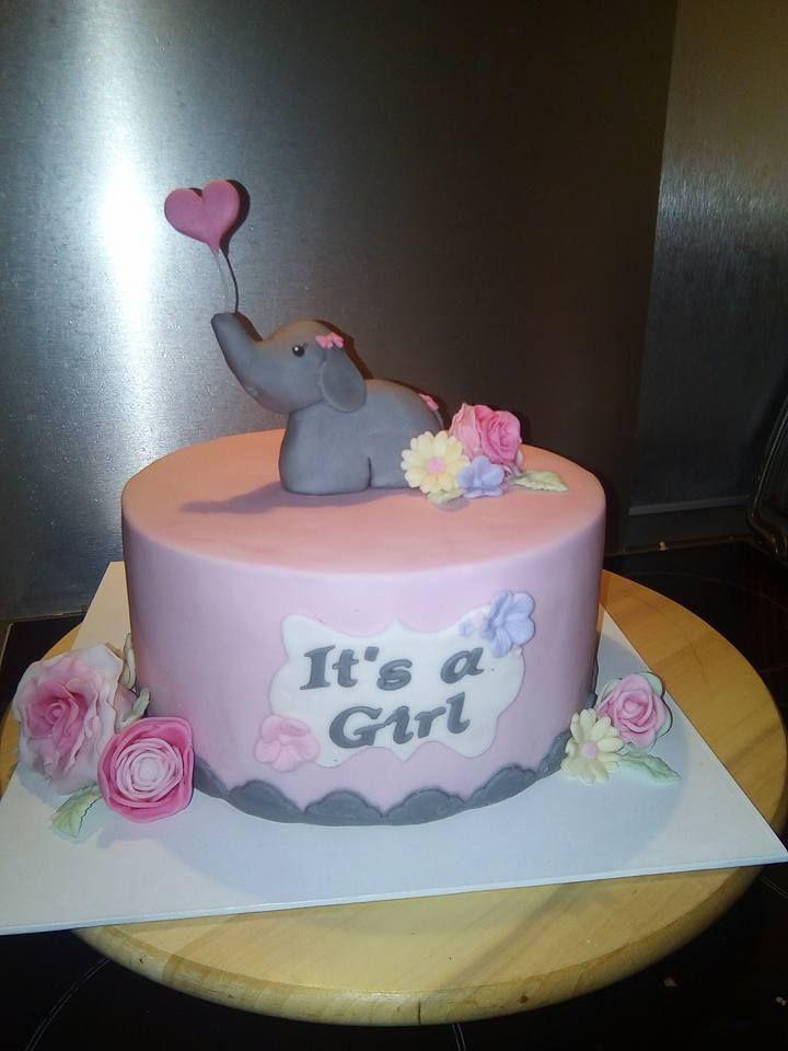 baby shower cake girl elephant