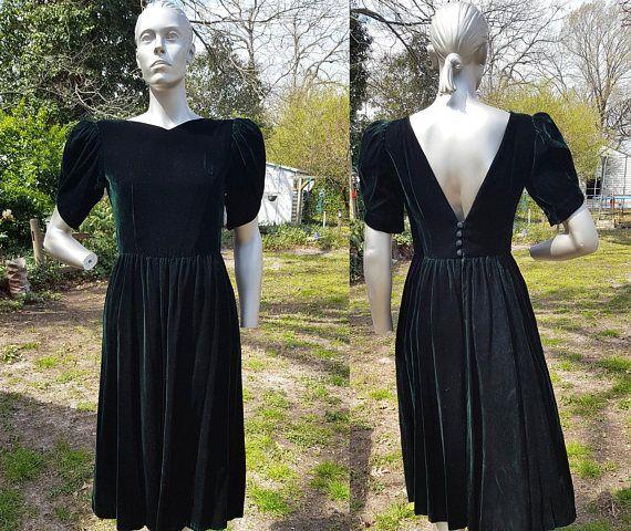 80s Prom Dress in Green Velvet 80s Dress Velvet Dress Green