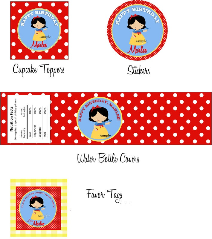 Snow White themed Printable Birthday Party Invitation - product image