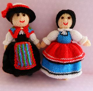 This is Chiara from Switzerland & Desislava from Bulgaria. They are knitted Folk dolls in national dress. The knitted dolls are 20cms tall. This knitting pattern is worked flat and would suit a Beginner. http://www.ravelry.com/patterns/library/chiara--desislava---folk-dolls---swiss--bulgaria
