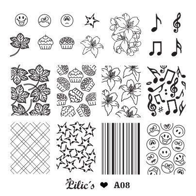 Lilic's stamping plate A8 full nail small leaves cupcake flower music rhombus stars bars emoji full nail