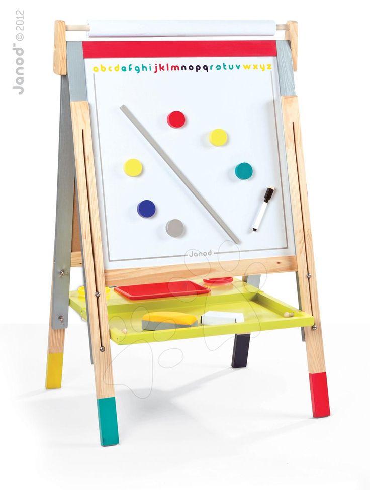 JANOD dřevěná magnetická tabule Graffiti je hračka ze dřeva pro děti od 3 let. Dřevěná hračka je magnetická, má barvičky, fix, houbičku, dá se na ni kreslit a malovat.