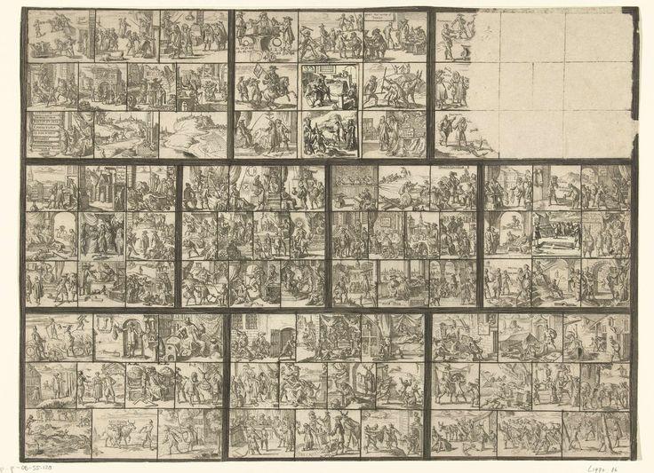 Romeyn de Hooghe | Blad met tientallen kleine voorstellingen van juridische aard (illustraties voor 'Ars magna et admirabilis [...] Pandectarum tituli [...] ope figurarum emblematicarum'?), Romeyn de Hooghe, 1690 - 1695 | Rechthoek, onderverdeeld in tien vlakken, die zelf weer onderverdeeld zijn in tien kleine vlakjes. Veertien van die kleine vakjes zijn leeg gelaten (in zeven daarvan zijn uitgeknipte plaatjes van een ander blad geplakt), zesentachtig zijn gevuld met kleine voorstellingen…