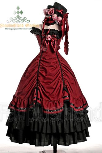Gothic Lolita.  his reminds me of Ciel's dress, just red. So, it also reminds me of Madame Red