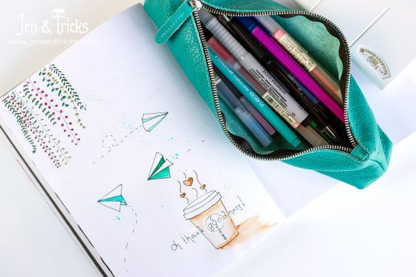 Doodles made on an airplane, with an assortment of pens and watercolours. Things I put in my crafty travel kit - http://jenandtricks.com