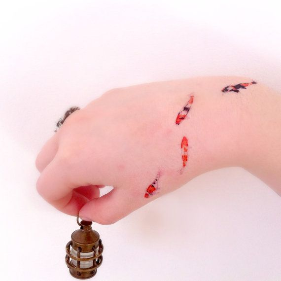 Tiny koi fish temporary tattoo koi fish gold fish for Small coy fish