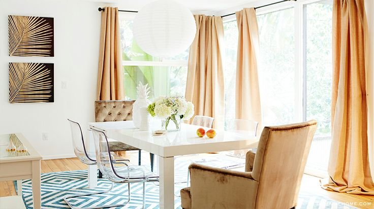 Natural light accents this room's pastel color palette // Dining Rooms: Dining Rooms, Home Tours, Curtains, Roe Canyon, Interiors Design, Louis Roe, House, Louise Roe, Canyon Hideaway