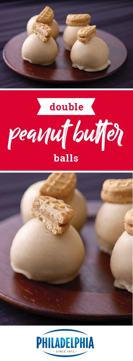 Double Peanut Butter Balls – Enjoy this delicious recipe combination of PHILADELPHIA Cream Cheese, peanut butter sandwich cookies, and white chocolate for your next dessert treat. PB fans of all ages will want you to make these bite-sized treats for the next celebration.