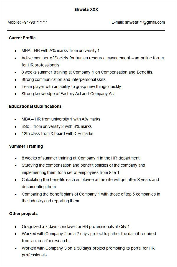 Free Resume Templates Human Resources Hr Resume Resume Format For Freshers Sample Resume Format