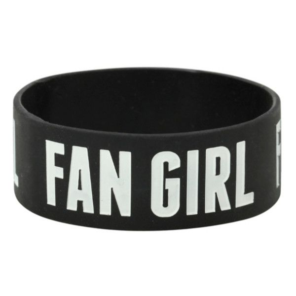 Fan Girl Rubber Bracelet | Hot Topic ($5) ❤ liked on Polyvore featuring jewelry, bracelets, accessories, extras, bracelet bangle, black jewelry, rubber bracelet, kohl jewelry and rubber bangles