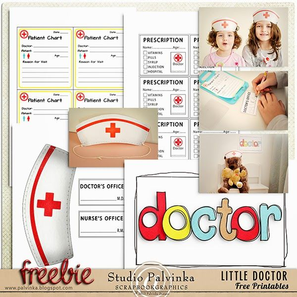 FREEBIE - Little Doctor Free Printables by Palvinka Designs, perfect for kids to play on Doctor!
