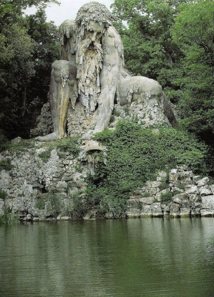 The Appennino god mountain is 35 ft high and was sculpted in the late 1500s. It was built by famous Italian artist Giambologna in Florence, Italy.