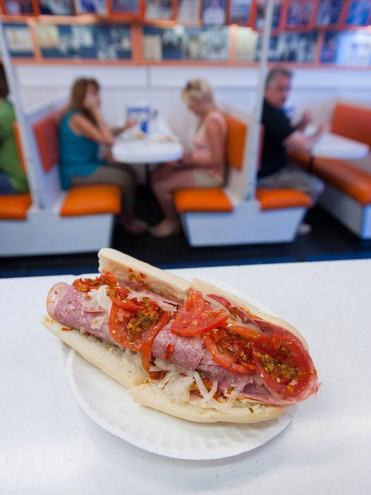 """Hoagie, hero, sub: In New Jersey, the sandwiches have as many names as toppings. In Atlantic City, be sure to order the """"regular sub"""" (an Italian hero, pictured) at a booth in the White House Sub Shop—where everyone from The Beatles and Frank Sinatra to Mohammed Ali and Shakira have come for what is possibly the world's best sub. —Marita Begley"""