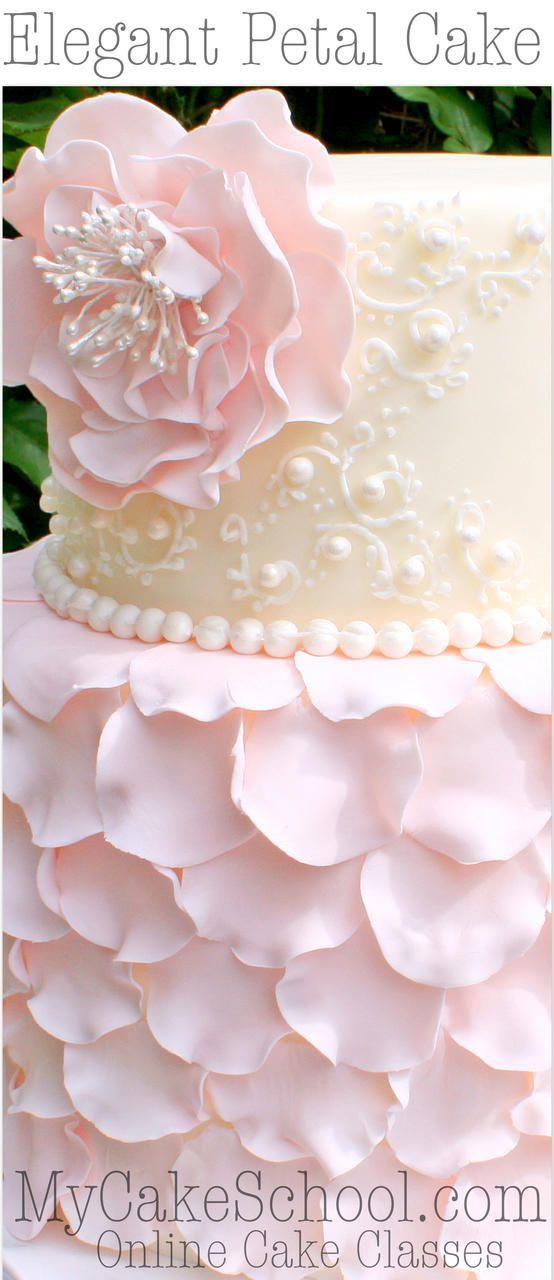 Elegant Fondant Petal Cake with Flower & Scrollwork! Member Cake Decorating Video Tutorial by MyCakeSchool.com Online Cake Decorating Classes! #cakedecoratingtutorials
