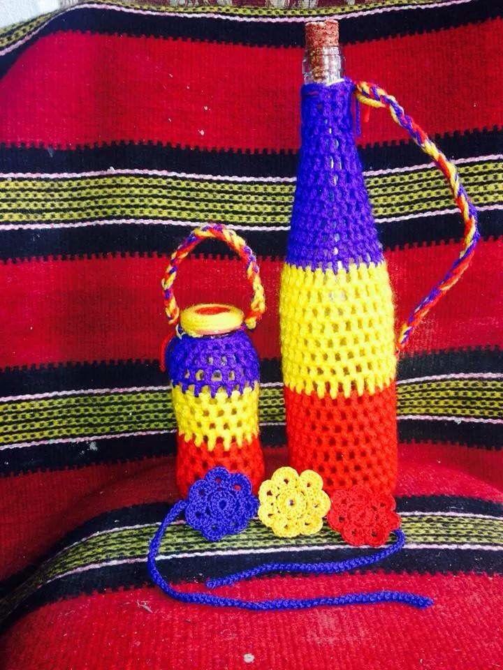 Sticla croșetată tricolor România
