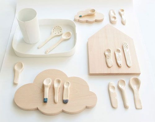 ceramic spoons and cloud platter - French designer Caroline Gomez