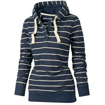 Stylish Hooded Long Sleeve Drawstring Striped Women's Hoodie (AS THE PICTURE,L) in Sweatshirts & Hoodies   DressLily.com