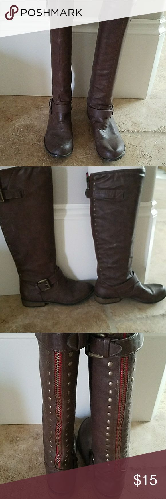 Brown flat boots Brown riding boots with red stitching Shoes Combat & Moto Boots