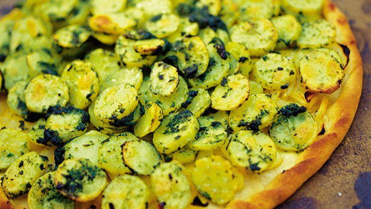 Kartoffelpizza med løgmarmelade - Meyers