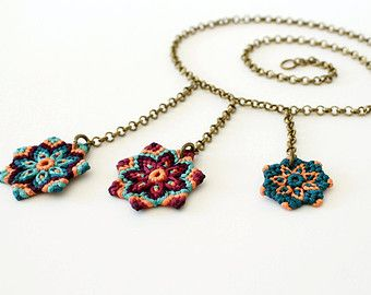 Macrame geometric triangle necklace with beads green blue