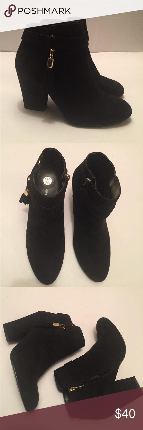 "River Island Black tassel trim ankle boots River Island black tassel trim suede ankle boot with 3"" heel.  UK size 4.  EUC River Island Shoes Ankle Boots & Booties"