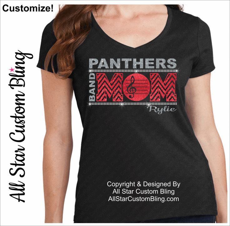 Band Mom Chevron Bling Shirt, Custom Band Mom Shirt                                                                                                                                                                                 More
