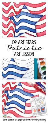 This patriotic art project is a great art lesson for 4th or July, President'…