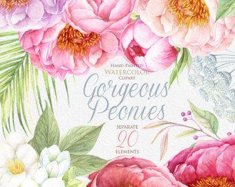 Watercolor Wedding Flowers Peonies Roses Green Hop by ReachDreams