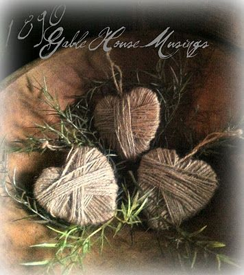Wooden hearts wrapped in twine. Use as bowl fillers or ornaments.