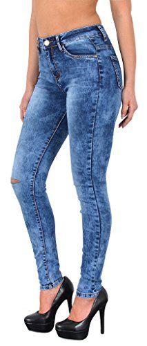 cool by-tex Damen Jeans Hosen Damen High Waist Jeanshosen Risse am Knie Skinny Stretch Hochschnitt Hose bis Übergröße Z72
