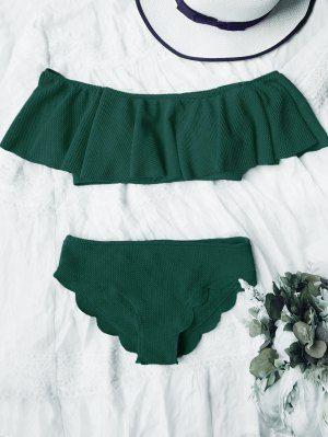 Traje De Bikini Fuera Del Hombro Con Detalle Festoneado - Verde Oscuro M