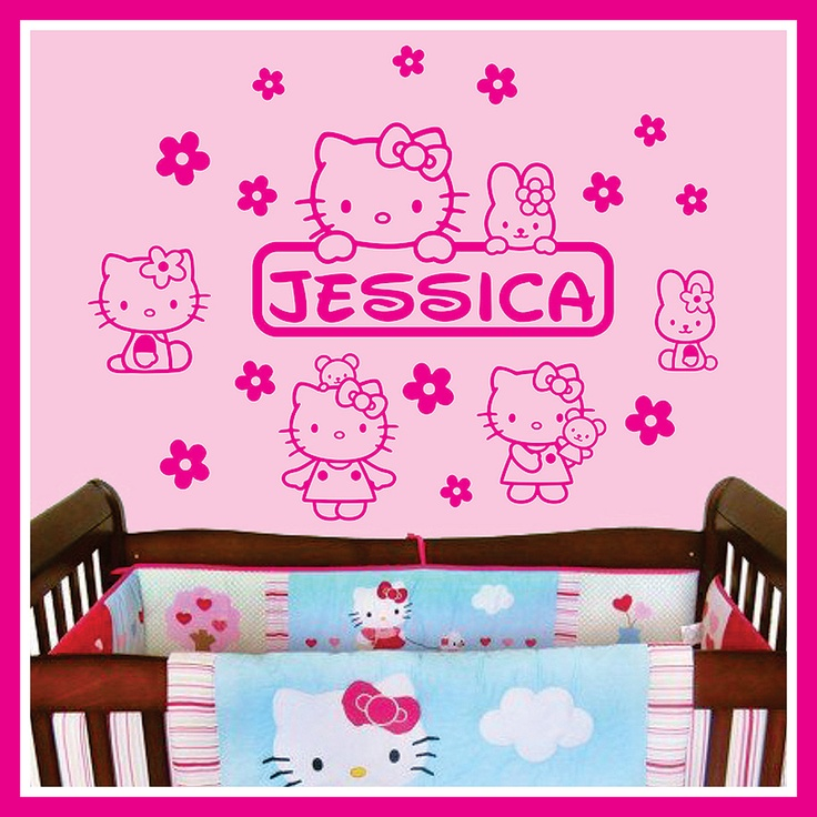 Personalized Name And HELLO KITTY Vinyl Wall Decals Art Stickers For Kids  Nursery Room. $24.99