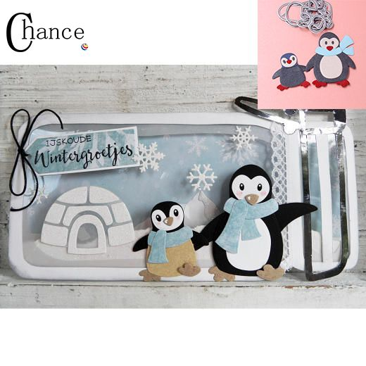 Pingwin koperta Karty wykrawania umiera dla Scrapbook dekoracji dodaj do ulubionych szablon udekorować zaproszenie cięcia die