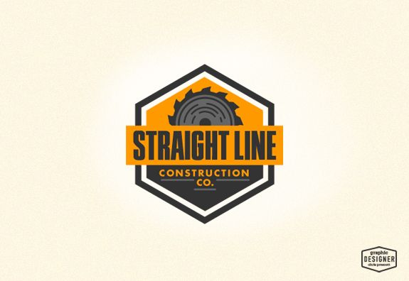 Straight Line Construction Company is a retro / vintage logo design project by Milwaukee Graphic Designer Chris Prescott. The logo features a saw blade with orange & grey colors. | cprescott.com & https://www.facebook.com/designerchrisprescott/ #graphicdesignerchrisprescott