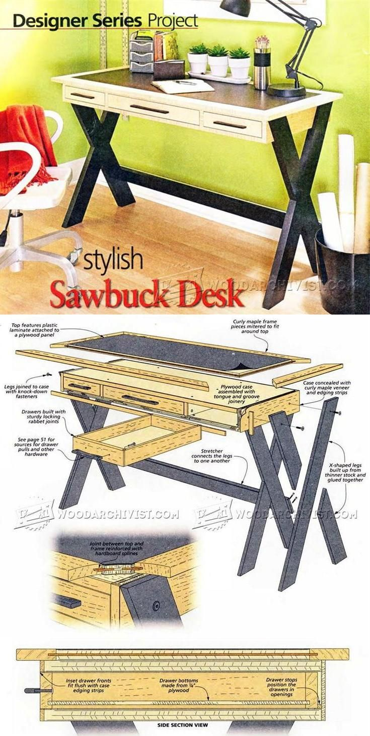 How to build a wingback chair my woodworking plans - Home Desk Plans Furniture Plans And Projects Woodarchivist Com