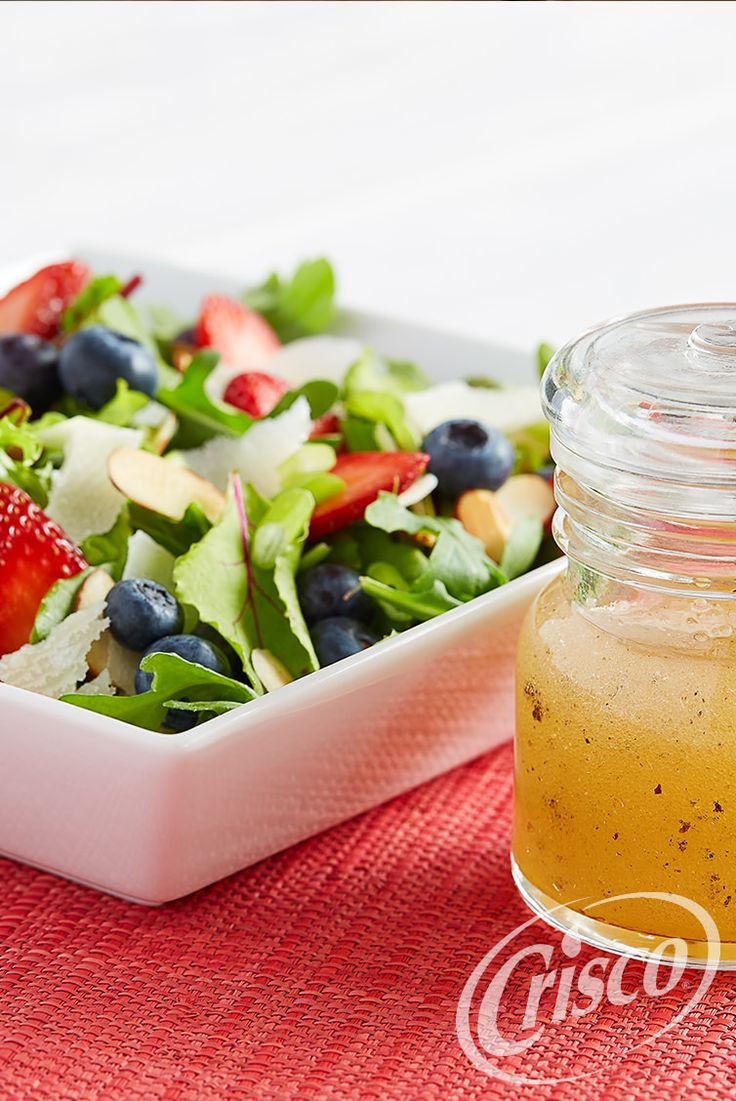 Liven up your spring mix salad with fresh strawberries and blueberries. White wine vinegar tops off this delightfully light salad. #CreativeClassics #Crisco