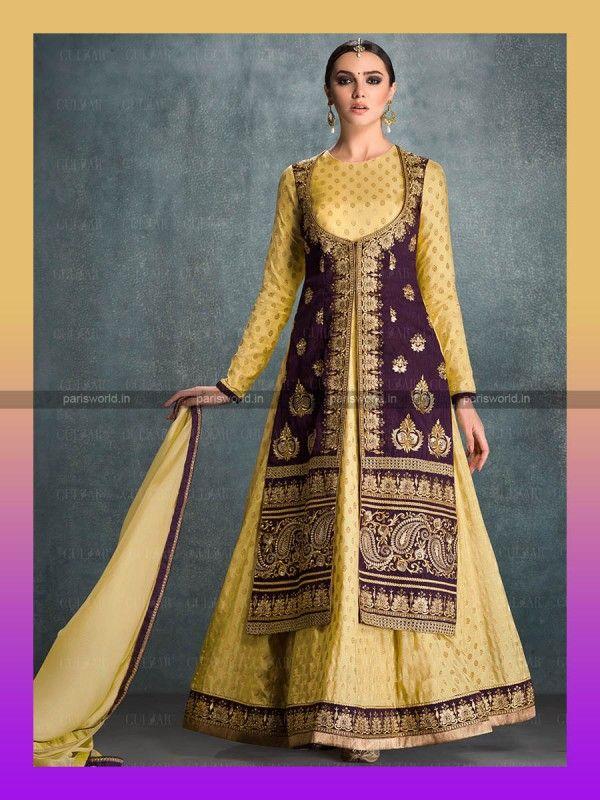 Mustard Banglori Silk Charming Anarkali Salwar Suit