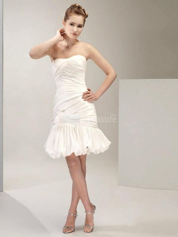 White Soft Sweetheart Ruched Taffeta Beach Wedding Gown