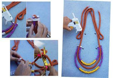 Passo a passo de colares de corda. Muitas idéias, muita criatividade